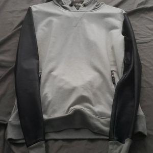 Men hoodie with leather sleeves